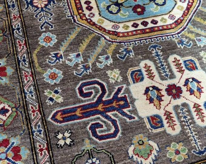 Kazak Rug 5X6.8 Ft Afghan Caucasian Rug Kazakh Rug Area Rug Large Vintage Rug Afghan rug Turkmen rug geometric Vintage Persian rug