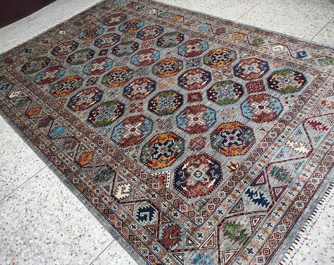 7x10 colorful rug, turkish kilim rug, southwestern rug, hooked rugs large, deco -handmade, bokhara rug, bathroom, persian, housewarming gift