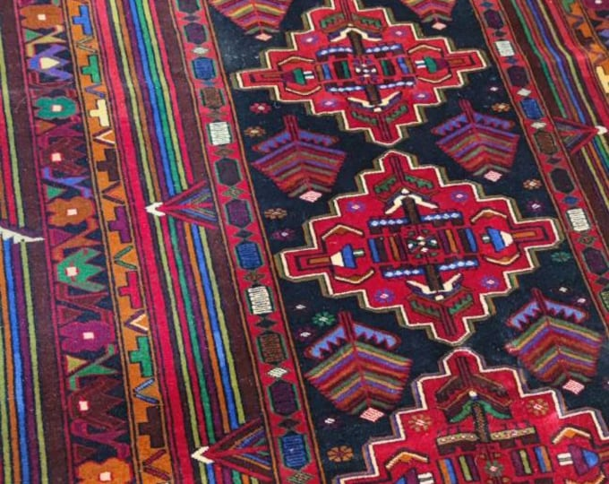 Afghan rug Baluch handmade Afghan hand-knotted rug made with soft wool tightly knotted