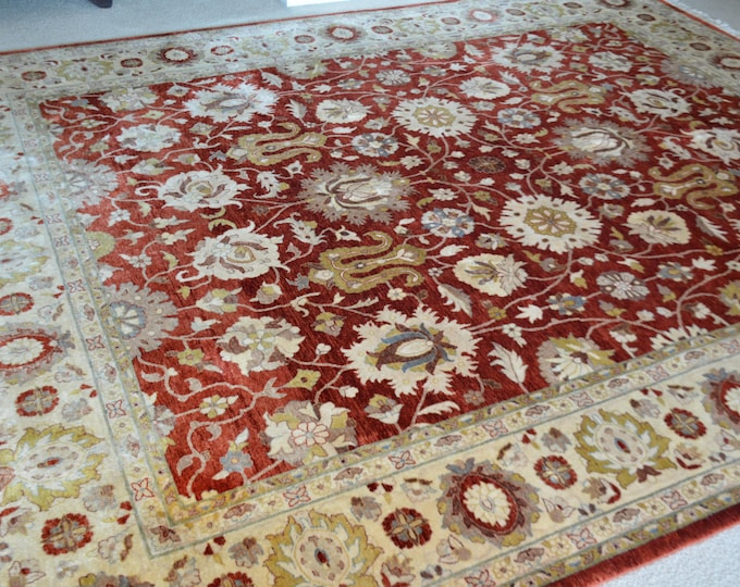 8X11 Ft Stanning double knotted highest quality extremely tight knotted Afghan Belgique Chobe Oriental Rug, Ziegler Turkish Rug Design