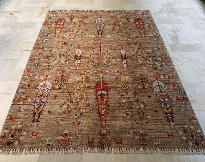 5x7 persian rug, deco -handmade, neutral oriental rug, small rug, woven rug, sumak rug, bohemian rug, morocco rug, abstract rug, baluch rug