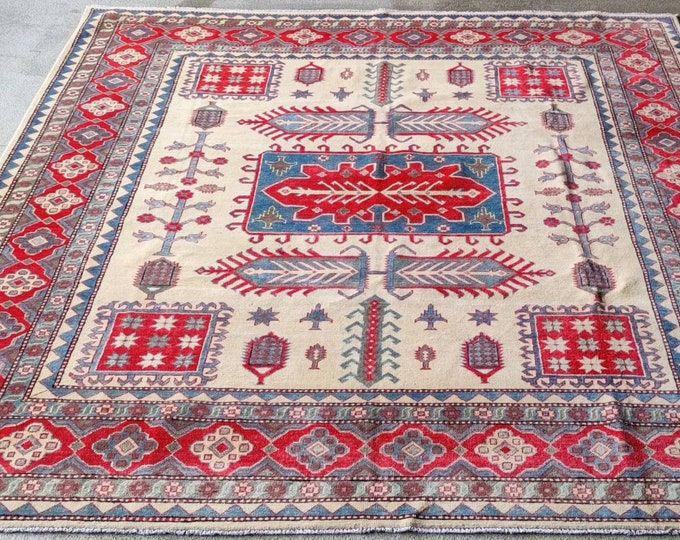 Handmade Afghan Rug  8.2X9.11 Ft  abstract rug, oushak vintage rugs, traditional rug, floor rug, leather bags, office rug, boho rug