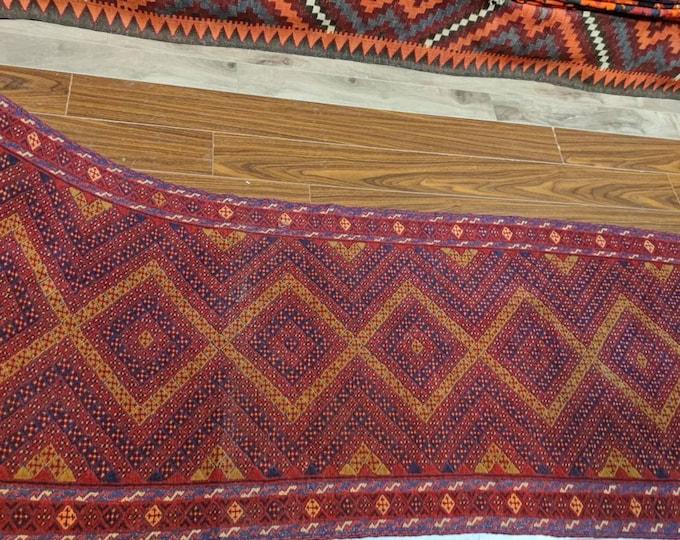 Afghan Mushwani Runner Rug, Vintage Runner Rug, Oushak Runner Rug, Vintage Runner Rug, Turkish Runner Rug, Vintage Rug, Afghan Red Runner