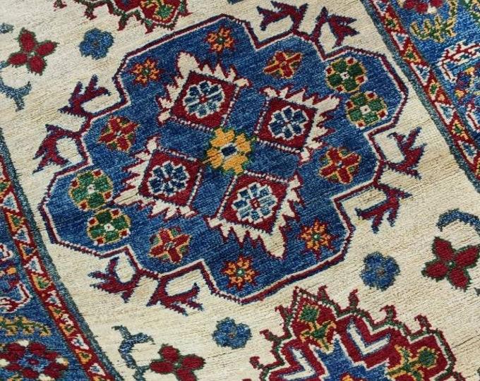 Kazak Rug 2.9X4.1 Ft Afghan Caucasian Rug | Area Rug Large | Vintage Rug | Afghan rug | Persian rugs | Turkmen rug | kilim rugs