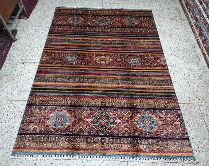 7x10 Afghan rug, hand hooked rugs, southwestern rug, dusty rose rug, rugs for living room, tribal rug, sumac rug, nomadic rug, persian rug