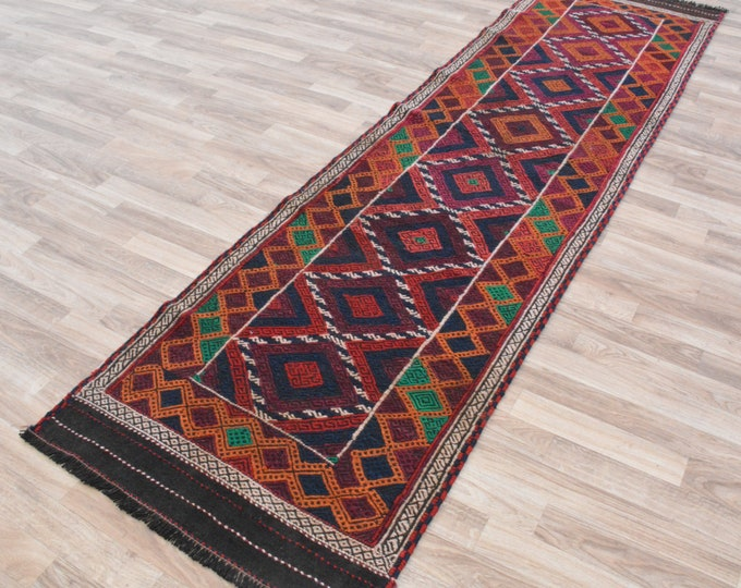 Sumac Handwoven runner rug /Persian Runner / oushak rug / vintage hallway rug / turkish rug / wool rug / hand knotted rug / turkey floor rug