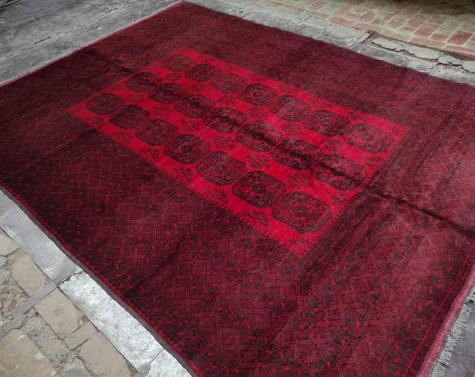 8.17x10.7 Ft Vintage Afghan Ghazni Hand-knotted rug, Tightly knotted, Soft High quality Wool of Sheep, red area rug, tribal rug, persian rug