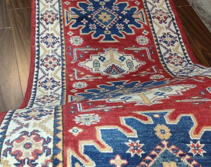 Runner rug Kazak Rug 2.8X10.2 Ft Afghan Caucasian Rug | Area Rug Large | Vintage Rug | Afghan rug | Persian rugs | Turkmen rug | kilim rugs