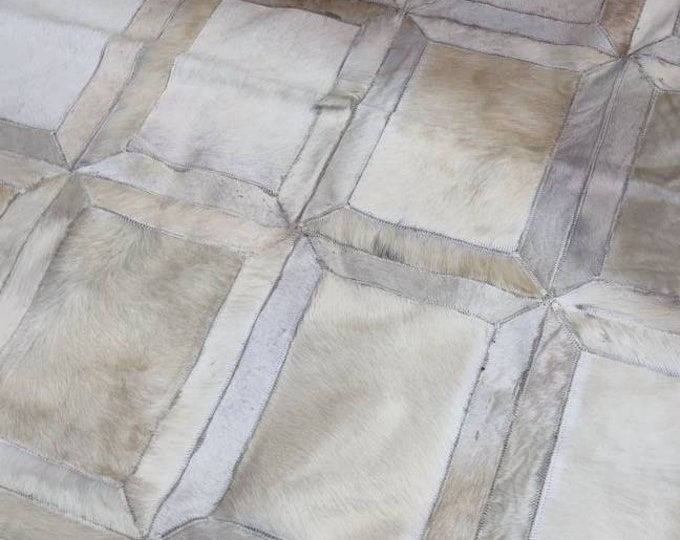 Handmade cowhide  6.5x6.5 Ft leather rugs from Egypt - Patchwork rugs carpet cowhide rug, Living Room Bedroom Decoration Real Leather Rug