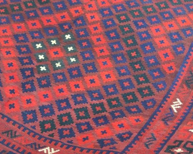 Vintage rug Afghan Kilim rug 6'9X8'1 Ft Maimana Kilim Rug, bokhara rug, vintage flower shape rug, area rug, morocco rug, traditional rug