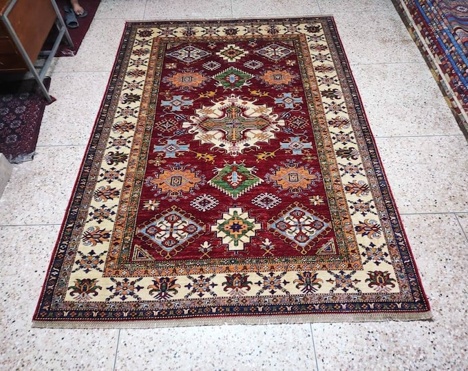 7X10 Super Kazak Fine quality Afghan Hand-knotted Ghazni Wool Area Rug with Geometric Designs, Free Shipping worldwide