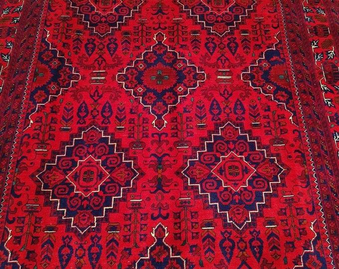 Khamyab Afghan Rug made with the Silk-like Soft High-quality wool, Handmade Rug, Afghan Rug, Turkmen Rug, Oriental Rug, Red Rug