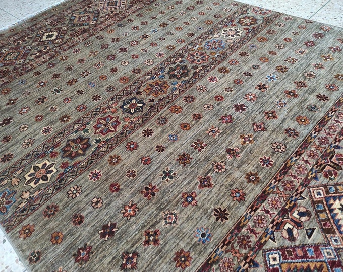 5x8 bedroom rug,teal rug, hand hooked rugs, large floor rugs, wool rug, war rug, hand made rug, tribal rug, oushak vintage rugs, beige rug
