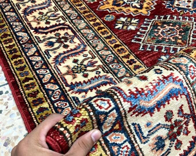 "Afghan Kazak super fine Handmade Kazak Area Rug 5"" X 6'65"" Caucasian Kazak Rug"