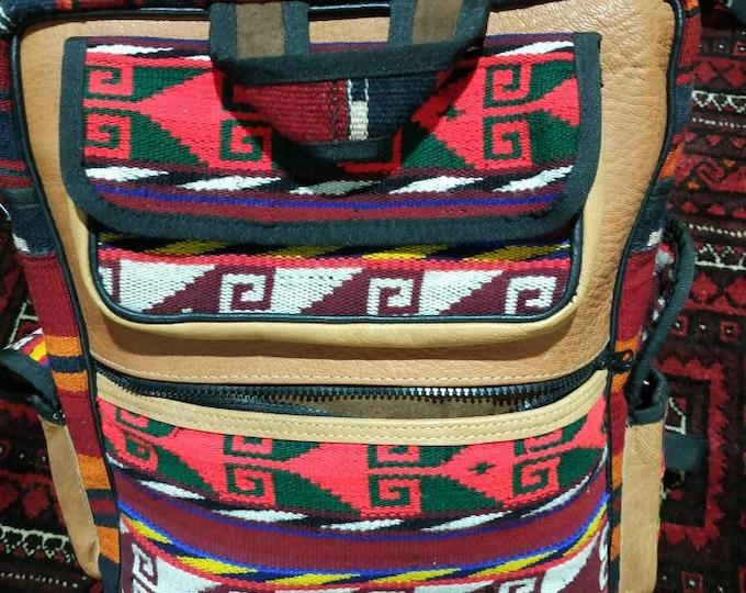Leather Afghan Kilim Bag, Handmade Leather Bag, Kilim Leather Bag, Carpet Leather Bag, Leather Backpack, Leather Knapsack, Leather Pack