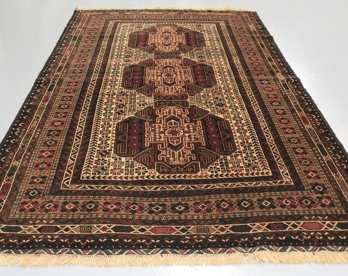 High-Quality Extremely soft tightly knotted Handwoven rug made with Sheep Wool, Afghan Tribal Baluch Rug Traditional Rug wall hanging rug