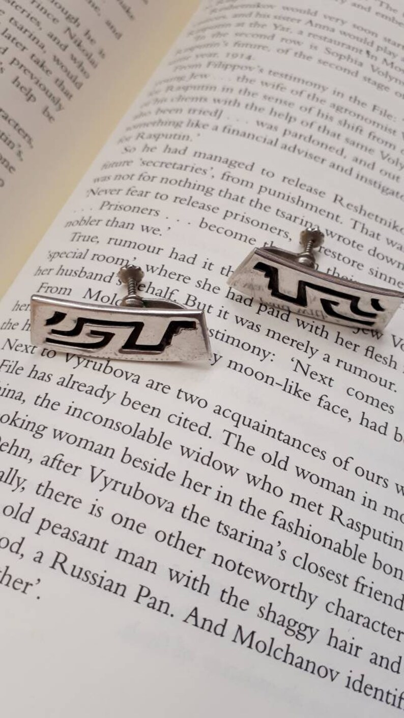Designer piece. Hallmarked tribal aztec symbol screw back earrings Vintage 925 Mexican Taxco ATA oxidized sterling silver mayan symbol
