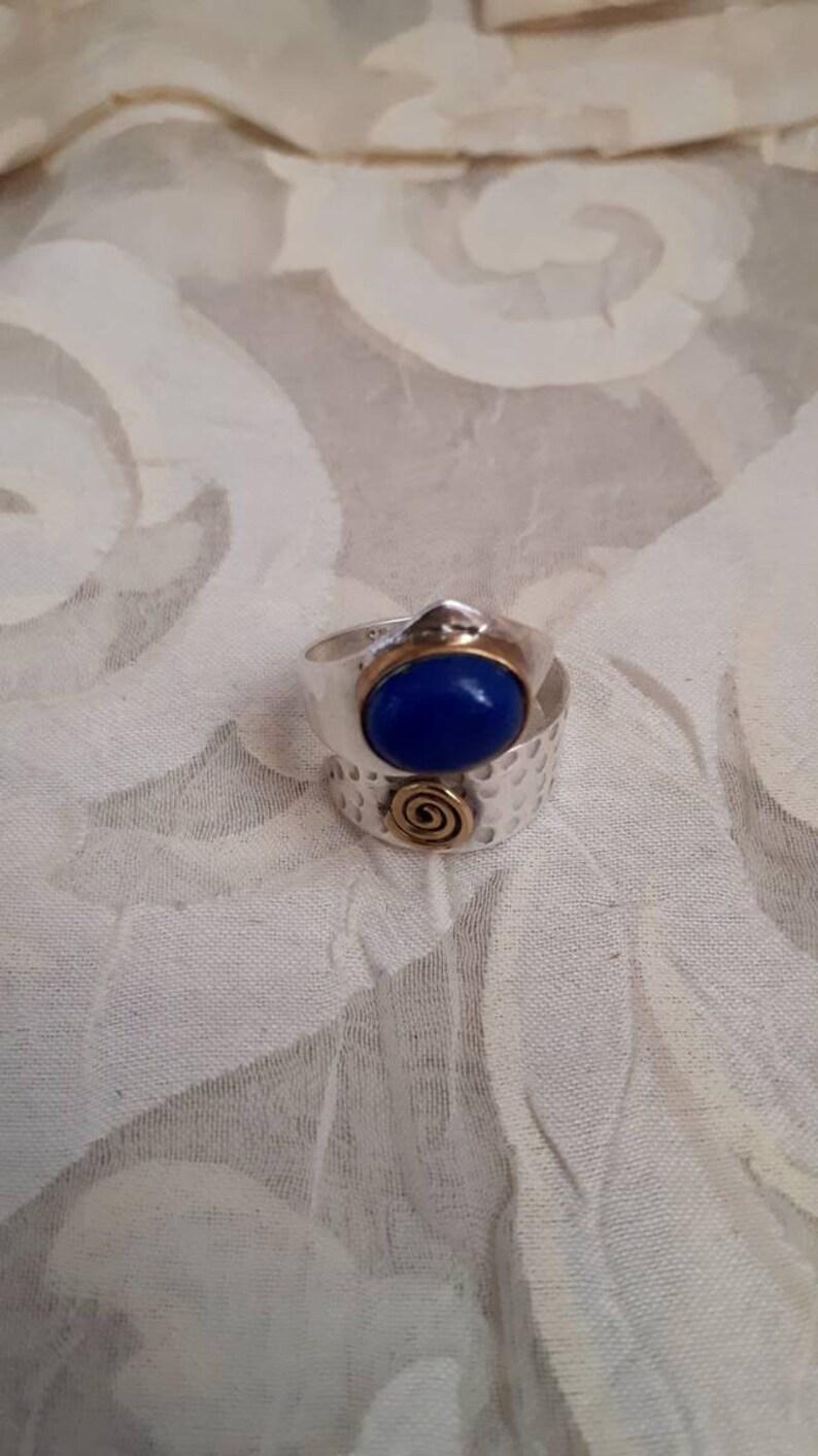 Fabulous sterling silver 925 and Lapis lazuli gemstone wrap ring