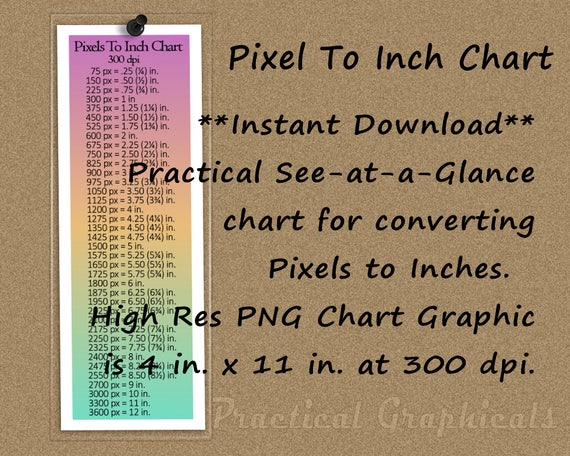 Pixel To Inch Conversion Chart High Res Png Chart Graphic Etsy