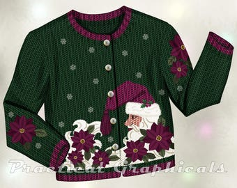 Ugly Christmas Sweater Graphic for Cards, Scrapbooking, and Other Small Christmas Projects.