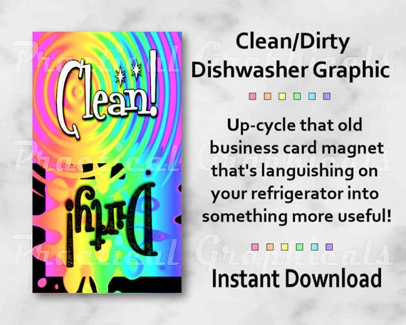 Cleandirty dishwasher graphic for magnet business card size colourmoves