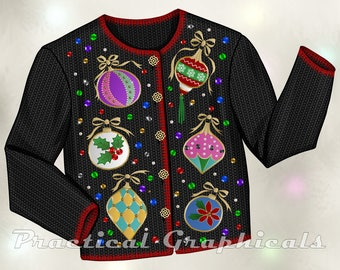 Ugly Christmas Sweater Graphic for Cards, Scrapbooking, and Other Small Christmas Projects