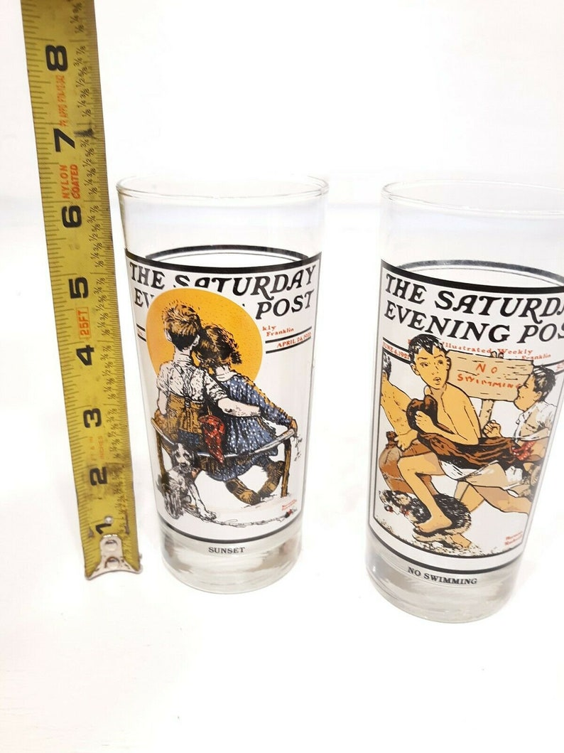 Arby/'s Saturday Evening Post Glasses 1987 Collectible Sunset /& No Swimming lot 2