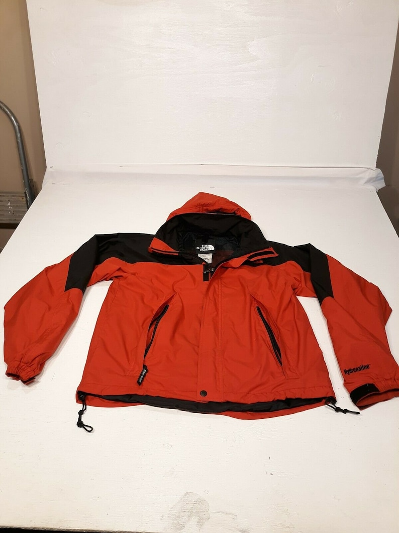 2e653f7d8 Mens Small vtg THE NORTH FACE Hydrenaline Jacket Red Packable Rain Parka  zip 90s