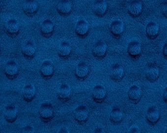 "MINKY DIMPLE Dot Cuddle Super Soft Plush Fabric Royal Blue remnant 4 pcs, 10x63"" selvage, cut off"