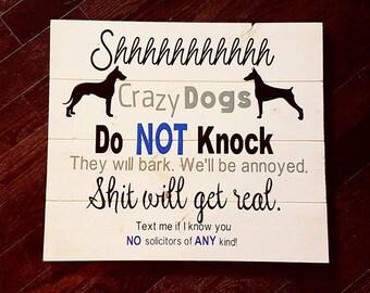 No Solicitors Sign Door Sign Beware of Dog
