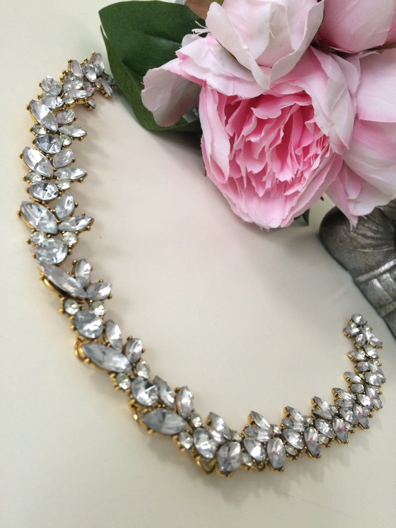 Statement Necklace Boux Jewels Simple Rhinestone Floral Necklace