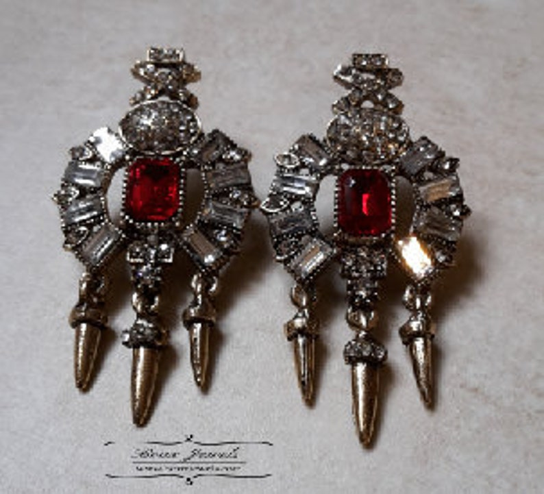 Red or Blue Claw Style Statement Earrings