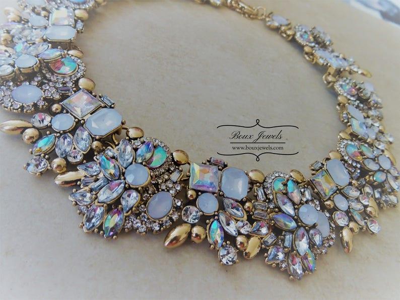 Boux Jewels White /& Gold Womens Statement Bib Necklace