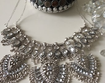 Silver indian inspired Statement Bib Necklace