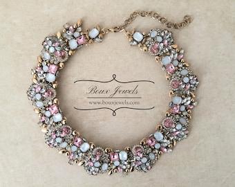 Pink Rhinestone Statement Bib Necklace