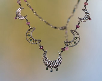 Sterling silver charm necklace with rainbow tourmaline - handmade chain - art deco vintage jewelry for woman - moon links - 20 inch necklace