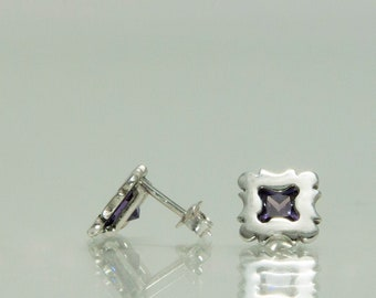 Purple stud earrings sterling silver - square sterling silver earrings - cz earrings - violet stone earrings - CHOOSE YOUR COLOR
