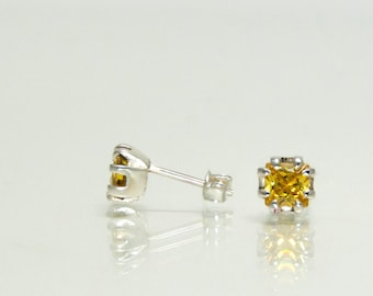 Yellow stone earrings sterling silver - yellow cz jewelry - small sterling silver stud earrings sterling silver - CHOOSE YOUR COLOR