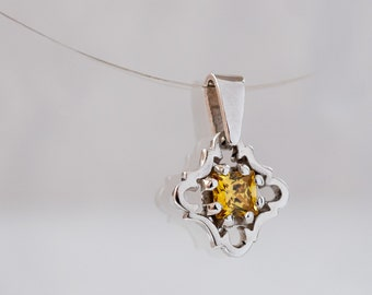 Yellow stone pendant sterling silver - cz pendant - sterling silver square pendant - sterling silver dainty pendant - CHOOSE YOUR COLOR
