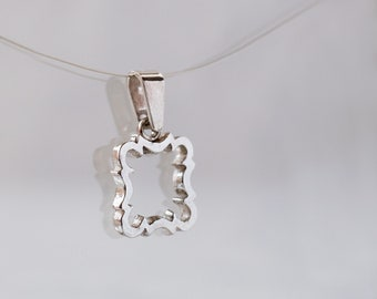 Sterling silver square pendant - square sterling silver pendant - 925 sterling silver dainty pendant - sterling silver pendant for women