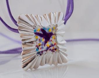 Statement square necklace - silver porcelain pendant - ooak bird necklace - architecture lover