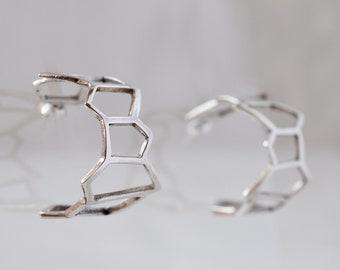 Harpa hringla: sterling silver hoop earrings medium - 1 inch hoop earrings studded - irregular geometric jewels - earrings with posts -