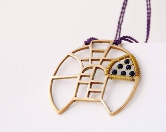 Inlaid necklace - bronze and garnet pendant - bold feminine jewel - adjustable lenght - honor to gone architects