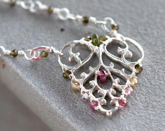 Rainbow tourmaline pendant necklace - sterling silver dainty triangle necklace - art nouveau filigree pendant - architecture lover