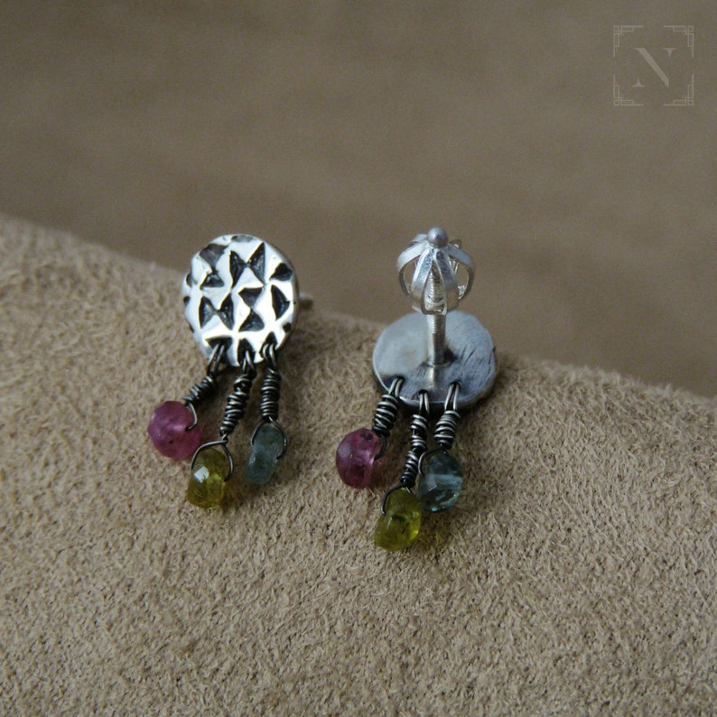 sterling silver stud earrings of vintage style with tourmaline SGRAFFITI everyday minimal jewelry tiny gift for any women