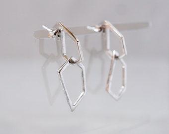 Harpa sveifla: sterling silver drop earrings - irregular jewels - everyday stud earrings - lightweight earrings - dainty dangle earrings