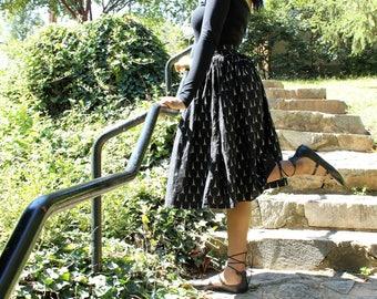 Paris Inspired Mid Length Gathered Skirt