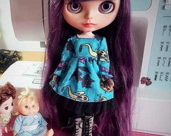 Blue Turquoise Halloween dress with tulle for Blythe