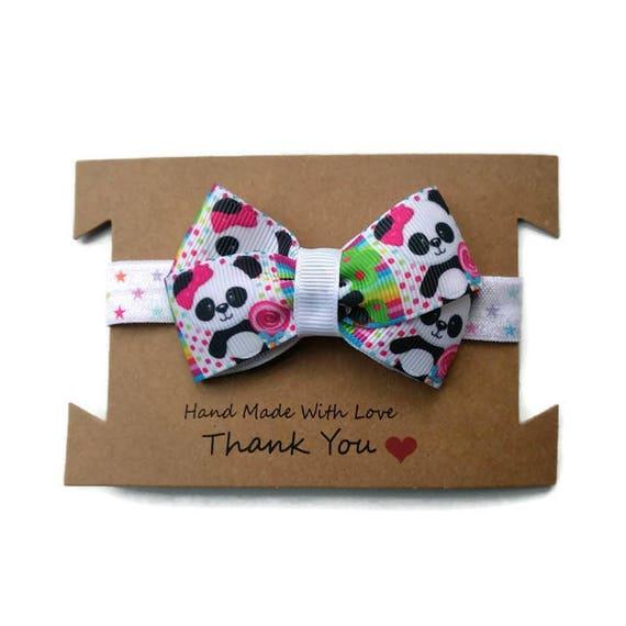 Panda Panda de bébé bandeau - enfant Panda Hair Bow - noeud sur bandeau stretch - bandeau élastique pour bébé - Reborn bandeau - cadeaux de naissance