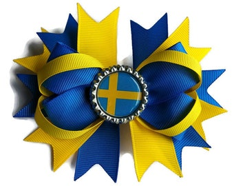 Sweden Flag Hair Bow - Swedish World cup hair bow - Sweden Girls Gift - Swedish Flag hair Clip - Team Sweden accessories - Swedish Flag Bow